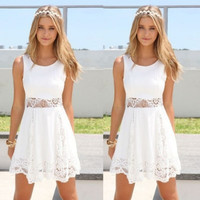 White Sleeveless Floral Lace Skater Dress