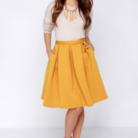 Perfect Balance Mustard Yellow Pleated Midi Skirt