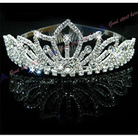 Fashion Pretty Silver Crystal Rhinestone Wedding Headband Tiara Comb Hair Crown NW