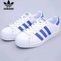 Adidas Superstar fashion shamrock shell head white and blue stripe classic casual neutral skate shoes