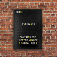 Mini Peg Board Customizable Sign in Black with White and Yellow Letters