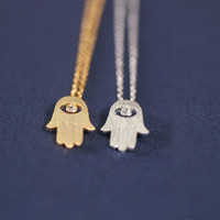Tiny  Hamsa  Hand necklace. Choose your color. by DoubleBJewelry