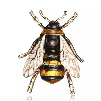 Enamel Gold Tone Bumble Bee Brooch Pin for Women