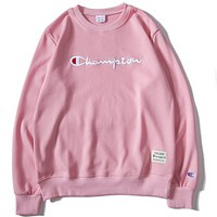 Champion classic embroidery men and women round neck hooded sweater Pink