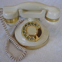 Vintage Princess Style Rotary Telephone - Made in Italy 18K Gold Plated
