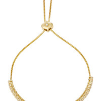 Isadora Eternity Petite Yellow Gold Graduated White Diamond Bolo Bracelet | Moda Operandi