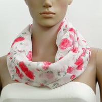 Red Infinity Scarf Rose Scarf White Scarf - Crinkled Loop Scarf Shawl Scarf – Handmade Fashion Scarves Summer Infinity Scarf Gift for her