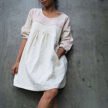 Tone poem...Linen  Ivory earthy dress with hand stitches detail All size all colour