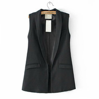 New Women Sleeveless Formal Long Vest V Neck Blazers Suit One Button Jacket Coat NW