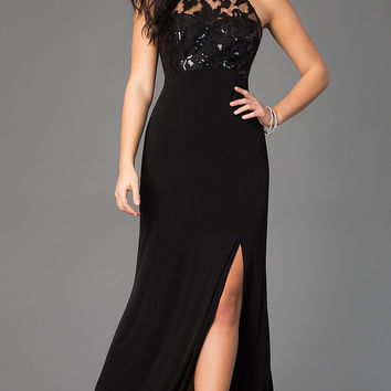 Black High Neck Empire Waist Prom Dress with Open Back by Sequin Hearts
