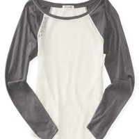 LONG SLEEVE SHEER LACE FRONT RAGLAN TOP