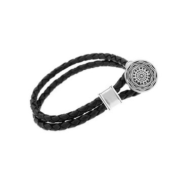 Smooth Seas Don't Make Skillful Sailors Sterling Silver Leather Bracelet