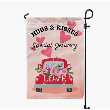 Valentine's Day Farmhouse Truck Garden Flag