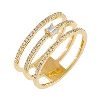 Diamond Baguette Triple Row Ring 14K