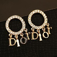 Dior Fashion Ladies Logo Letter Pendant Circular Diamond Earrings Accessories Jewelry I13642-5