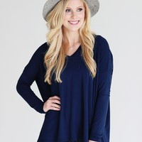 Navy PIKO V-Neck Long Sleeve Top