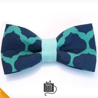 "Pet Bow Tie - ""Round Midnight"" - Turquoise & Navy Abstract Print - Detachable Bowtie for Cats + Dogs"