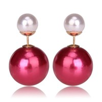 Gum Tee Mise en Style Tribal Earrings - Metallic Raspberry and White