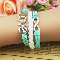 Love Braid Infinity 3 Layers Blue and White Handmade MultiLayered Bracelet BDP0529