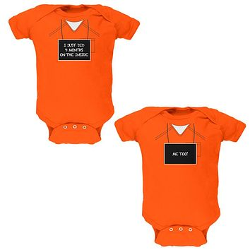 Halloween Twins 9 Months Inside Prisoner Costume Soft Twins Baby One Piece