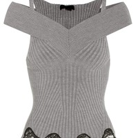 Wool and silk-blend knitted top