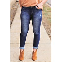 Britney Mid Rise Distressed Skinny Jeans