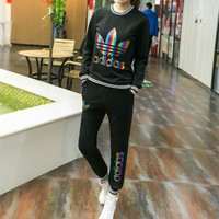 """Adidas"" Fashion Casual Colorful Clover Letter Print Long Sleeve Set Two-Piece Sportsw"
