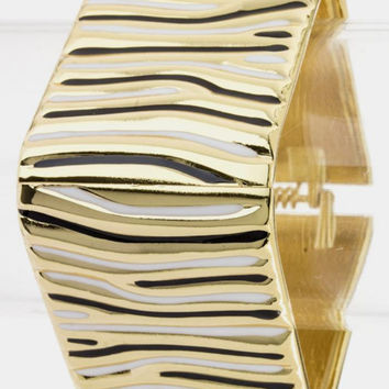 Black Zebra Striped Bangle -- Sassy Deal