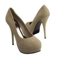 Red Circle Women's U-Andrea Classic Round Toe Platform Stiletto High Heel Pump, Nude Beige Faux Suede, US 8 M