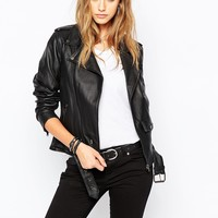 Tripp Nyc Leather Look Biker Jacket With Zips & Pocket Detail