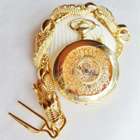 Gold dragon pocket watch, men's mechanical pocket watch with gold dragon watch fob