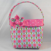 Little Girls' Pink Floral And Polka Dot Fabric Purse With Detachable Fabric Flower Pin