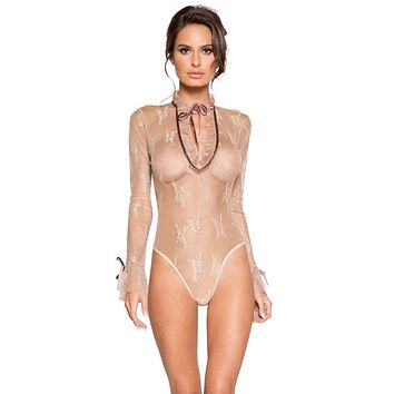 Sexy Make It Beige Long Sleeved Sheer Floral Ruffle Teddy