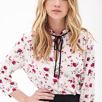 FOREVER 21 Spotted Floral Blouse Blush/Wine