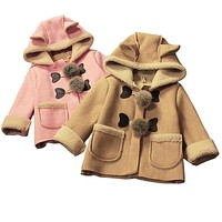 baby girls autumn winter jacket coats Children hooded outerwear kids warm outfits leather thicken cute coats