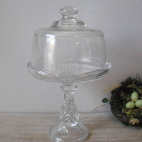 upcycled Vintage glass dome server ... Wedding pedestal dessert server  ... cupcake stand ... display dome cloche