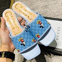 GUCCI 2020 new Mickey spring, summer and autumn flat slippers blue