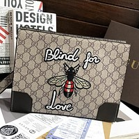 GUCCI GG Embroidered Letters Bee Pattern Ladies Cosmetic Bag Clutch Khaki
