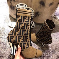 FENDI winter trend women's elastic knit ribbed striped shoes