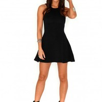 Missguided - Bronie Ribbed Skater Dress In Black