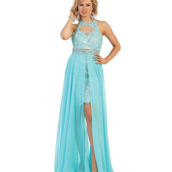 Aqua Illusion High Low Embroidered Halter Dress 2015 Homecoming Dresses