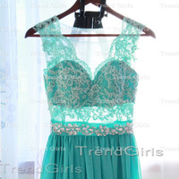 Custom Made Green Chiffon Long Lace Prom Dresses, Bridesmadi Dresses, Evening Dresses, Formal Dresses, Wedding Party Dresses
