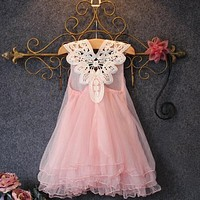 Romantic Sweet Kids Baby Flower Party Princess Dress Wedding Lace Tulle Tutu Dresses Candy Pink Pearl Dress