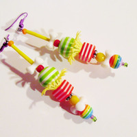 Long/ Kawaii/ COLORFUL/ STRIPED/ EARRINGS/ Gift/ For/ Her/ Funky/ Cool/ Artsy/ Island/ Lady/ Pop Art/ Teen/ Girl/ Party/ Fashion/ Jewelry