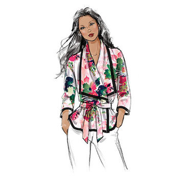 VOGUE WRAP TOP Pattern V-Neck Top Blouse Very Easy Vogue 8926 Size 4 6 8 10 12 14 Womens Sewing Patterns UNCuT Asian Kimono Style Top Blouse