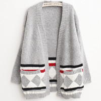 Grey Loose Long Sleeve Knit Cardigan Sweater Outerwear