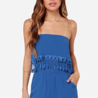 Play for Keeps Strapless Blue Romper