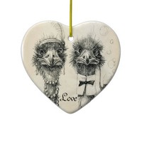 Mr. and Mrs. Ostrich Christmas Tree Ornaments