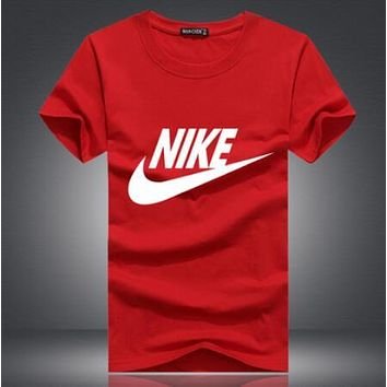 NIKE Classic Stylish Women Men Casual Print Short Sleeve Round Collar Couple T-Shirt Top Black