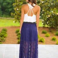 I Want To Hold Your Hand Maxi Skirt-Navy